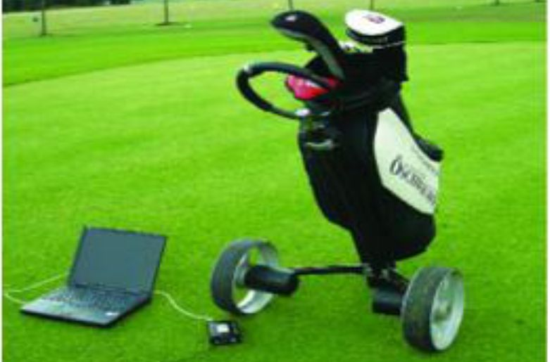Golf caddy with low noise gearbox application example