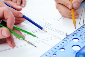 Work of engineers stock images