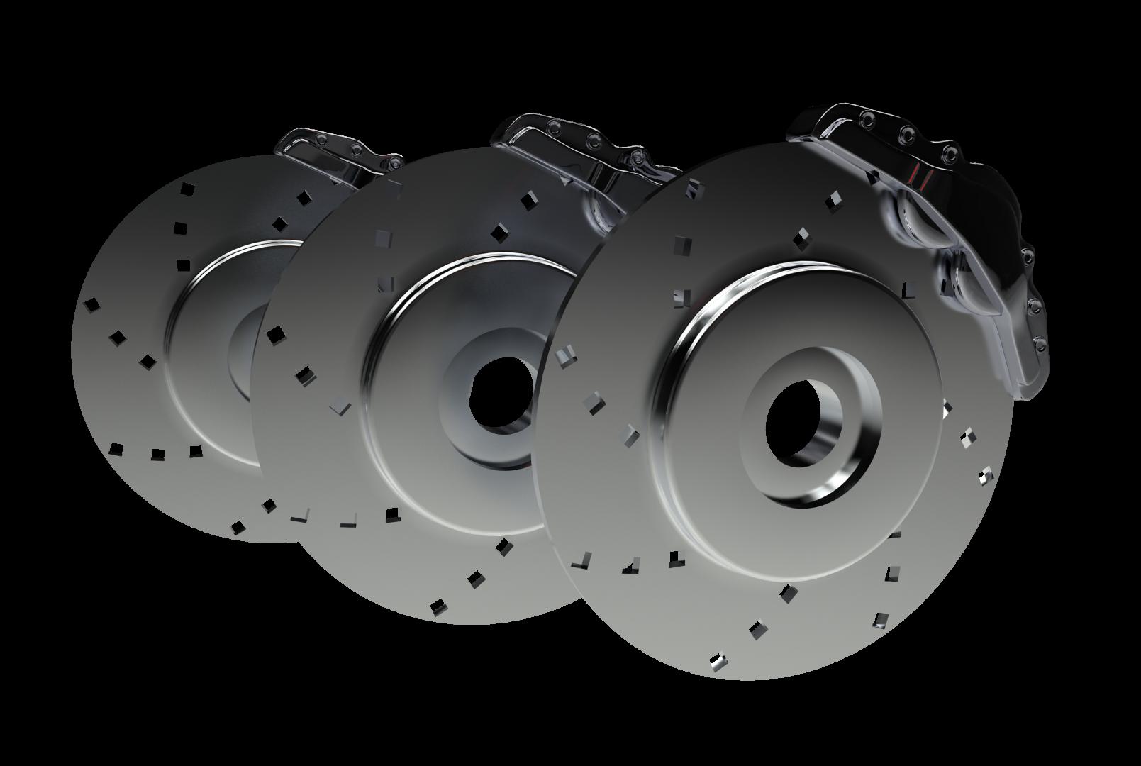 Three disc brakes